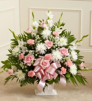 Tribute Pink & White Floor Basket Arrangement